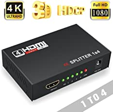 Cable World 1 x 4 HDMI Splitter, Input and Output for Full HD 1080P Support,(Black)