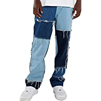 Lunaer Jeans Patchwork da Uomo Pantaloni Denim Casual Y2K Jeans Baggy Stampato a Vita Alta Pantaloni Gamba Larga…