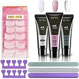 Nail kit, 3PCS Nails Extension Builder Gel Glue + 100PCS Acrylic Nail Tips + 3PCS Nail Files + 2PCS Sponge Finger Separator,