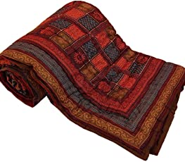 SVT Jaipuri Print Cotton Double Bed Razai (Multicolour)
