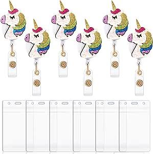 6 Set Einhorn Einziehbare Abzeichen Rolle Krankenschwester Abzeichen Rollenhalter Niedliche Tier Namenskarte Abzeichen Clip Mit Wasserdichter Ausweishülle Bürobedarf Schreibwaren