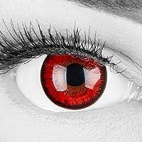 Lentilles couleur rouge noir - vampire red flower. Pour Halloween, Fantaisie, Carnaval + étuis à lentilles de contact I…