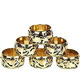 GAURI KOHLI Luxury Mother of Pearl /& Brass Napkin Rings GK4134 Set of 6 Elegant Design