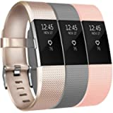 Yandu Replacement for Fitbit Charge 2 Strap (3 Pack), Watchbands Soft Comfortable Accessory Straps for Fitbit Charge 2