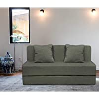 Aart Store Two Seater Sofa Com Bed for Home Perfect for Guests (4X 6 ft ; Grey)