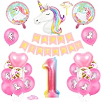 Unicorn 1 Anniversaire Fille Ballon, Unicorn Ballon 1, Ballons Anniversaire 1 an Unicorn, Ballon 1 Ans Fille, Unicorn 1…