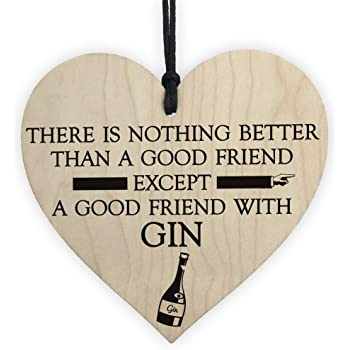 """/""""I Just Bloody Love Gin/"""" Novelty Wooden Alcohol Plaque Funny Present Gift Sign"""