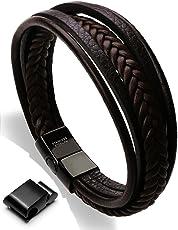 Moneekar Jewels HIGH Quality Leather Bracelet Double Magnetic-Clasp Cowhide Braided Multi-Layer Wrap Mens Bracelet