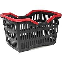 com-four® Einkaufskorb Kunststoff mit Henkel - Tragekorb zum Transport - Stabiler Plastikkorb in schwarz/rot - 39,5 x 29…