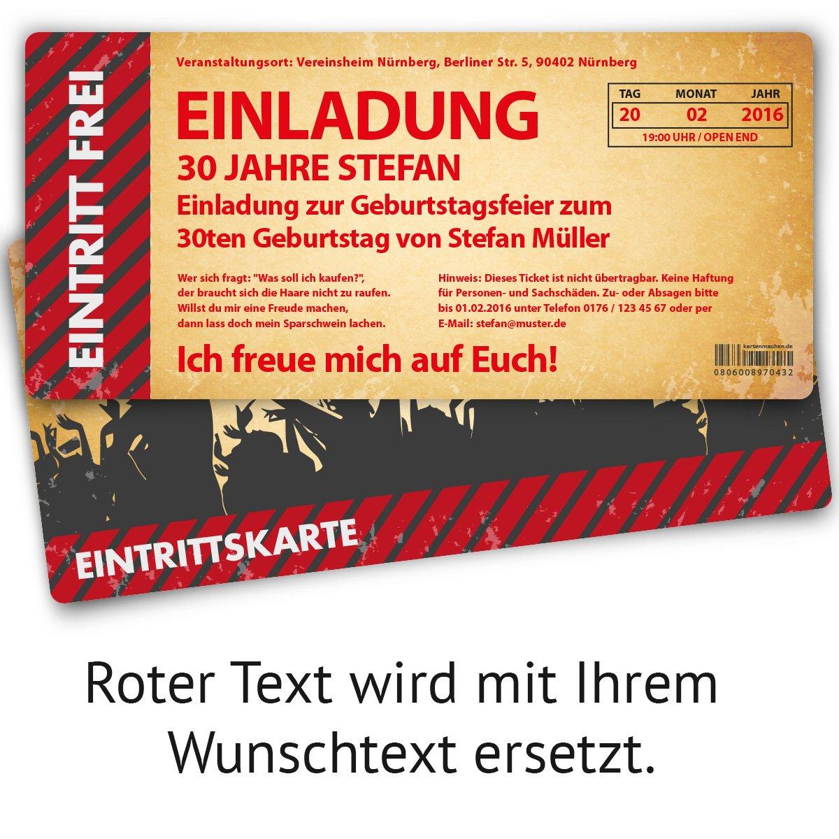 Einladungskarten Zum Geburtstag (40 Stück) Als Eintrittskarte Im  Vintage Look Ticket Karte Einladung: Amazon.de: Bürobedarf U0026 Schreibwaren
