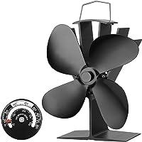 Stromloser Ventilator für Kamin Holzöfen Öfen, 4 Flügel Rotorblätter Kamin-Ventilator Ofenventilator Feuerstelle Kaminöfen Ofen Fan ohne Strom Umweltfreundlich(Schwarz)