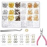 YUEMING 1800 Stuks Oorbel Maken Kit, Sieraden Maken Accessoires met Oorbel Haken Pliers Jump Ring Opener Tweezers,Oorbel Haak