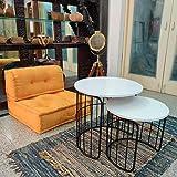 Priti Engineered Wood Admire Coffee Table Nesting Table Set of 2, Black and White