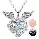 Collana con ciondolo con 3campanelli a forma di palline e dettagli a forma di ali d'angelo, colore: argento, gioielli regalo