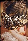 VIKSON INTERNATIONAL Bride Silver Pearl Hair Comb Wedding Bridal Women Hair Accessories Handmade Flower Head for girls women (24 cm long)