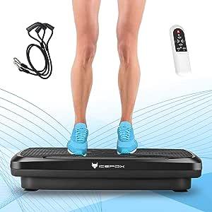 Icefox Fitness Vibrationsplatte mit Bluetooth 4.0 Lautsprecher   LCD Display & Fernbedienung  9 Trainings-Programme
