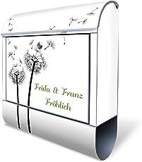 BANJADO Design Briefkasten mit Zeitungsfach, 2 Schlüssel, A4 Einwurf, silber pulverbeschichtet, mit Motiv WT Pusteblume 2