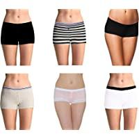 Pepperika Women's (Size XL) Full Coverage Soft Breathable Cotton Spandex Stretch Boyshort Underwear Boxer Briefs Hipster Boy Leg Panties (Pack of 6)