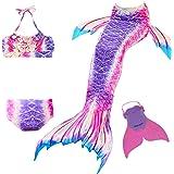 Cola de Sirena para Natación Traje de Baño 4pcs Mermaid Bikini con Monofín Establece para Niña Disfraz de Sirena Princesa Cos