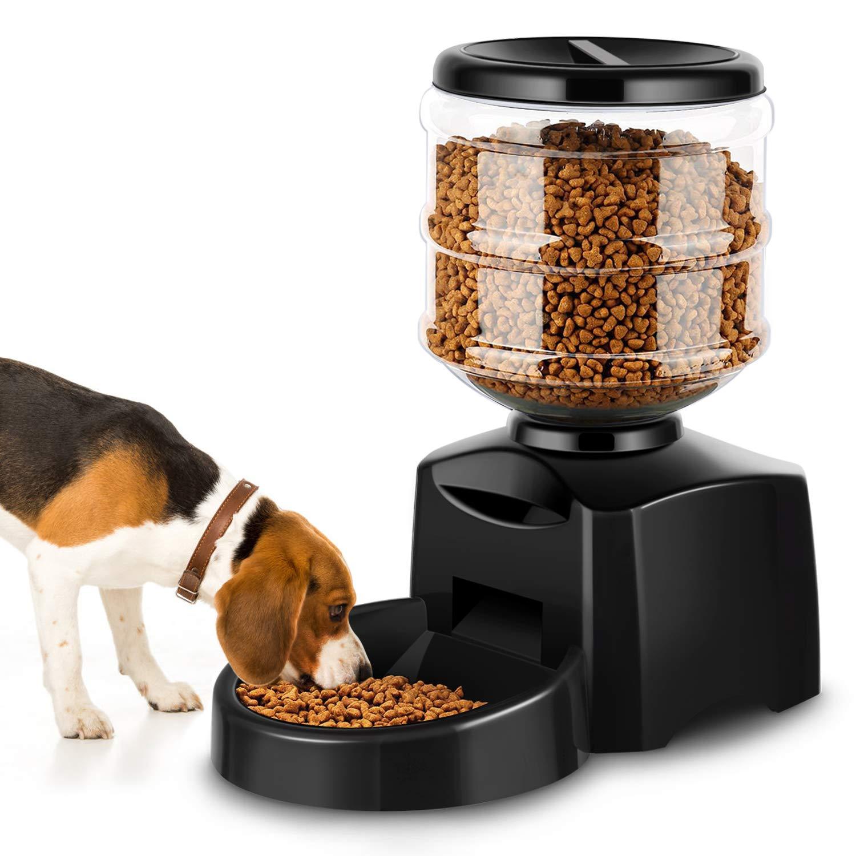 Comprar Amzdeal Comedero Automático Gatos y Perros 5.5L, Alimentador de Mascotas con Pantalla LCD, Dispensador con Función de Grabación - Envíos Baratos