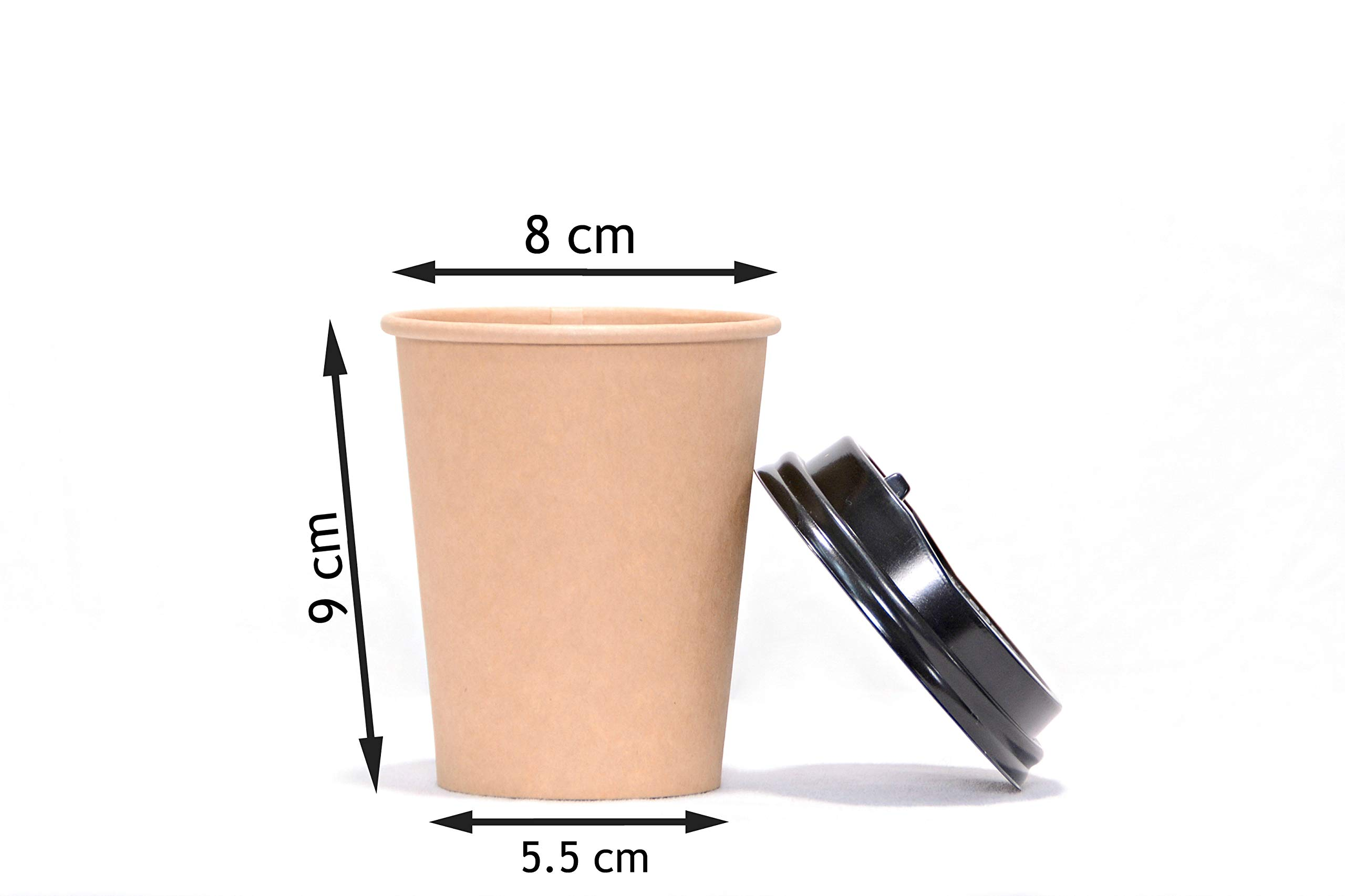CUPCO Disposable Bio Paper Coffee Cups, 100 Pieces Paper Cups + Free 100 Plastic Lids, 8oz Single Wall Kraft Brown Bamboo Eco Cups for Beverages, Party, Wedding, Anniversary, Birthday Supplies
