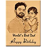 GFTBX Personalized Birthday Gift for Father - Customized Engraved Wooden Photo Frame Plaque with Text Engraving Happy Birthda