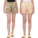 ASHTAG 100% Polyester Satin Shorts for Women - Pack of 2 - Geometric and Forest Prints