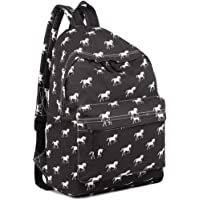 Kono School Bags for Boys and Girls Rucksack Canvas Horse Printing Backpack Students Teenagers Bookbag Casual Daypack…