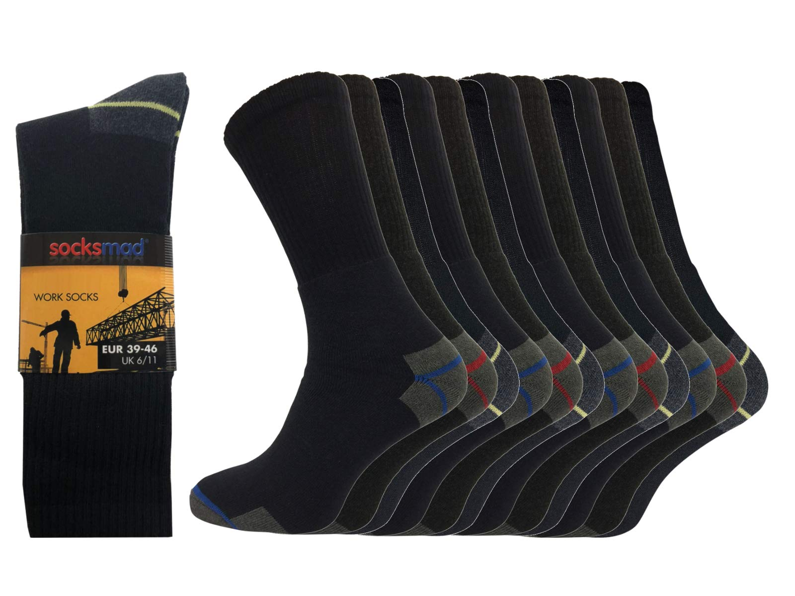 Socksmad Heavy Duty Work Socks - 12 Pairs Safety Boot Working Socks - Reinforced Heels and Toes - Cotton Rich Cushion Support for Extra Protection - Perfect for Builders, Mechanics or Guards 1