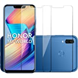 POPIO Tempered Glass for Huawei Honor Play (Transparent) Full Screen Coverage (Except Edges), Pack of 2