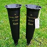 Set of 2 Son In Loving Memory Spiked Memorial Grave Flower Vases