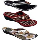 RYAG Multicolor Women Slippers and Flip Flops Women Combo Footwear (3 in 1).