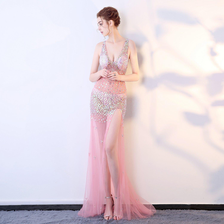 pizzo rosa filati stretto / moda prospettiva lungo vestito in abito da sera,,m. rossi