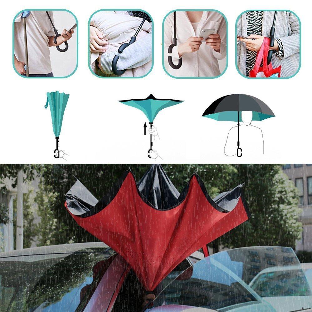 Double Couche Coupe-Vent et Hydrofuge FANTAZIO Parapluie invers/é Motif Chouettes Protection UV Support autoportant Poign/ée en Forme de C Pliage//d/épliage