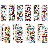 Vicloon 22 Feuilles Autocollants 3D pour Enfants Stickers 500+Pack,3D en Relief, Autocollants de Variétés pour Récompenser Sc