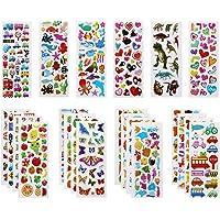Vicloon 22 Feuilles Autocollants 3D pour Enfants Stickers 500+Pack,3D en Relief, Autocollants de Variétés pour…