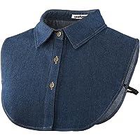 Wearlizer Frauen Kragen Abnehmbare Hälfte Shirt Bluse In Baumwolle Weiß/Schwarz/Jeans
