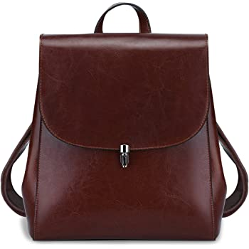 S-Zone Women Girls Ladies Leather Bag Purse Daily Casual Travel Small  Backpack (Coffee) 06b9c6f6c05db