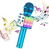 ShinePick Wireless Microphone, 4 in 1 Karaoke Bluetooth Microphone, Dancing LED Lights Portable Speaker Karaoke Machine…