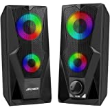 ARCHEER Casse PC, 10W Altoparlante USB Stereo Speaker 2.0 RGB Gaming Cassa Portatile per Notebook TV Laptop Perfetto per Scho