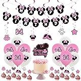 Minnie Party Supplies YUESEN 44PCS Mickey and Minnie Themed 1st Birthday Party Supplies Happy Birthday Banner Polka Dot Ballo