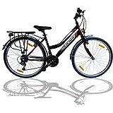 """Talson 26 Zoll Damenrad Shimano 21Gang 26"""" Damen Fahrrad Black mit Beleuchtung nach STVZO"""