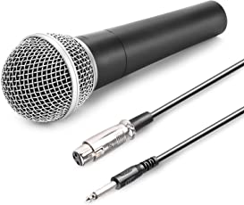"QUIT-X SP-4C Dynamic Neodymium Microphone - Professional vocal microphone for performance, stage, karaoke, public speaking, recording - includes XLR-to-1/4"" cable - Coal"