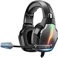Cuffie Gaming per PS4 PS5 con Microfono, Upgraded Cuffie Bassi Surround Cancellazione del Rumore, Padiglione Super…