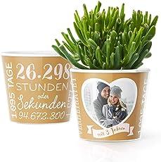 Facepot Hochzeitstag Geschenk Blumentopf (ø16cm) | Glücklich verheiratet! mit Herz-Rahmen für Ein gemeinsames Foto (10x15cm)