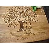 Personalisiertes Schneidebrett Handgefertigt mit Apfelbaum, Tandem. Fahrrad. Frühstücksbrettchen. Käse, Brot Schneidebrett, J