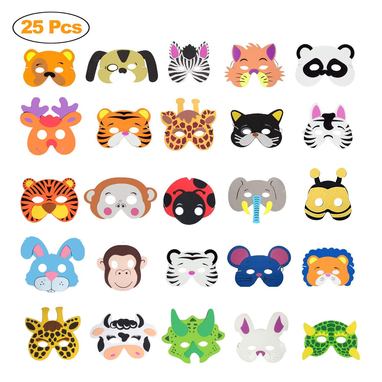 Kids Halloween Birthday Party.Funvce Kids Foam Animals Masks Eva Party Masks 25 Pieces For Masquerade Christmas Halloween Birthday Party School Plays Dogs Co Uk