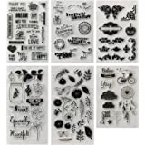 MAMUNU 6 Sheets Various Theme Flower Butterfly Friendly Phrases Patterns Silicone Clear Stamps for Card Making…