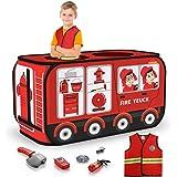 TEMI Tente de camion de pompier pliable - Tente de jeu pour enfants - Pour extérieur et intérieur - Costume de pompier et out