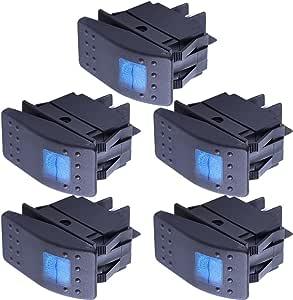 Mintice 5 X Kfz Auto Kippschalter Druckschalter Schalter Wippschalter Wasserdicht 12v 20a Blau Led Licht Lampe 4pin An Aus Auto